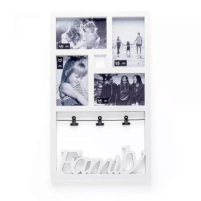 Painel de Fotos Varal Família Branco