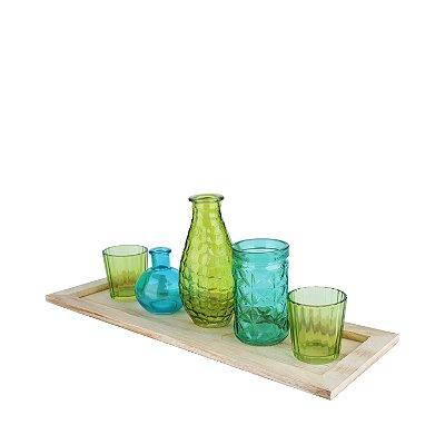 Castiçal Decorativo com 5 Peças de Vidro