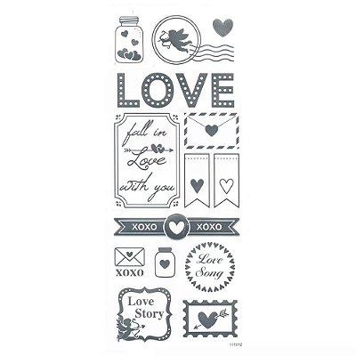 Adesivo Foil Prata Love