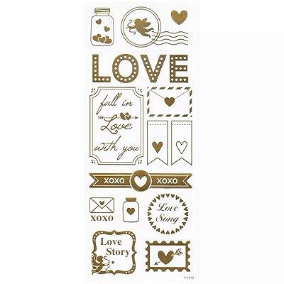 Adesivo Foil Dourado Love