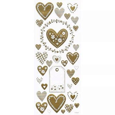 Adesivo Foil Dourado Corações Delicados