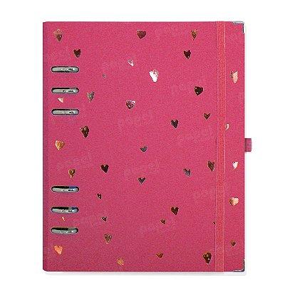 Planner Organizador A5 - Corações Rosa