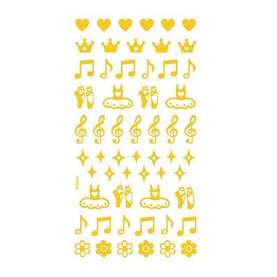 Adesivo Mini Foil Dourado Bailarina