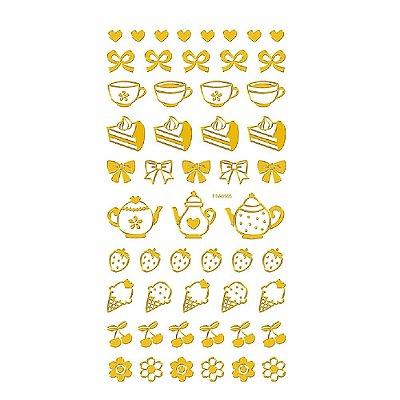 Adesivo Mini Foil Dourado Chá