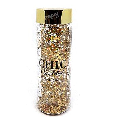 Garrafa Glitter Dourada 650ml