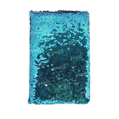 Caderneta Lantejoula Reversível Azul e Rosa