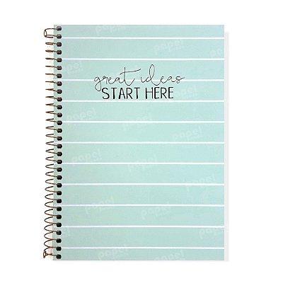 Caderno Soho Listras Azul Pastel 160 Folhas
