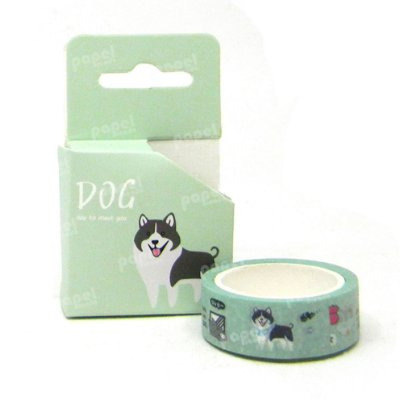 Fita Adesiva Washi Tape Dog Verde