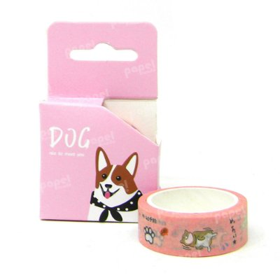 Fita Adesiva Washi Tape Dog Rosa