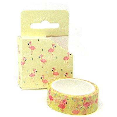 Fita Adesiva Washi Tape Flamingo Amarelo