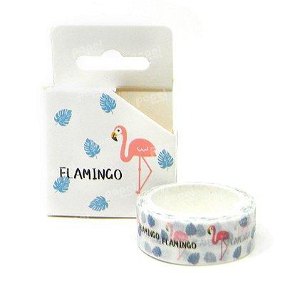 Fita Adesiva Washi Tape Flamingo Branca