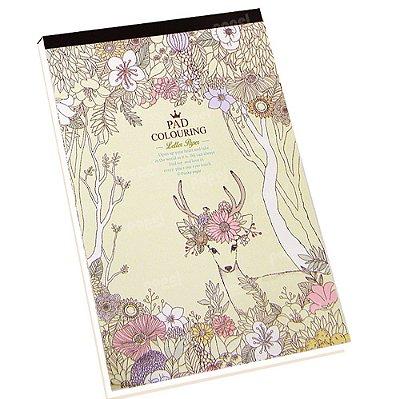 Bloco de Papel de Carta Flores e Cervo