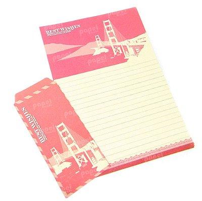 Papel de Carta Cidades Vermelho com Envelopes