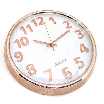Relógio de Parede Rosé e Branco 30x30cm