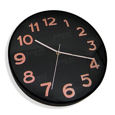 Relógio de Parede Preto e Rosé 30x30cm