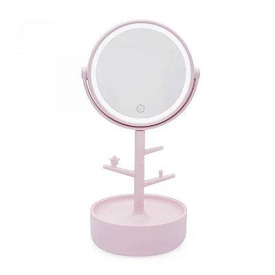 Espelho com Led Porta Bijoux Rosa