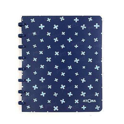 Caderno de Discos Pastel A5 Azul Escuro Estampado