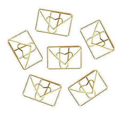 Clips Envelope Coração 12 Unidades