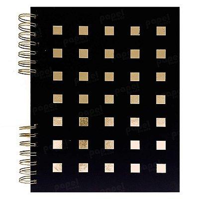 Caderno Preto Quadrados Dourados 120 Folhas