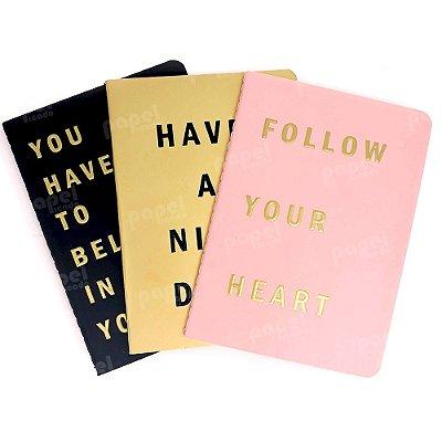 Conjunto 3 Caderninhos Brochura Metalizado Frases