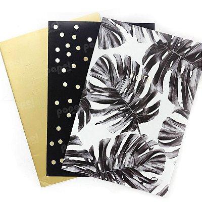 Conjunto 3 Caderninhos Brochura Estampas Metalizado