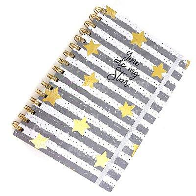 Caderno Midi Star Cinza Pautado