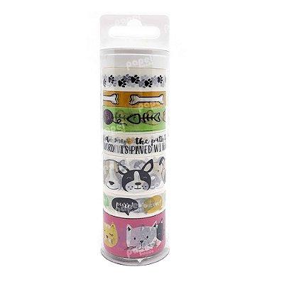 Conjunto Washi Tape 7 Unidades Cachorro e Gato