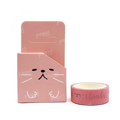 Fita Adesiva Washi Tape Gato Rosa