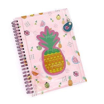 Caderno Espiral Com Bolso Abacaxi