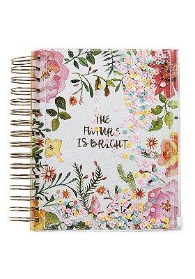Caderno Espiral Com Bolso de Zíper Floral