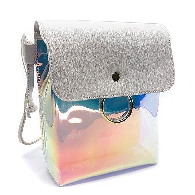 Bolsa Branca e Holográfica com Transparência