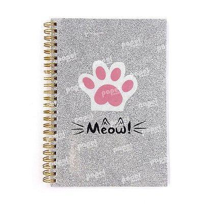 Caderno Midi Meow Glitter Prata