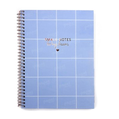Caderno Soho Quadriculado Azul Pastel 80 Folhas