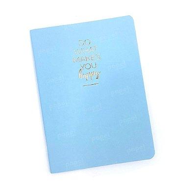 Caderno Brochura Pequeno - Brochura Happy Azul Pautado