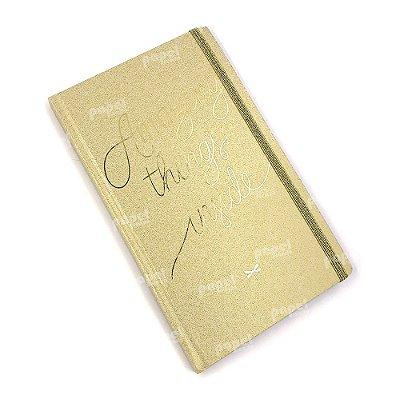 Caderneta Brochura Capa Dura Shine Dourado Pontilhado