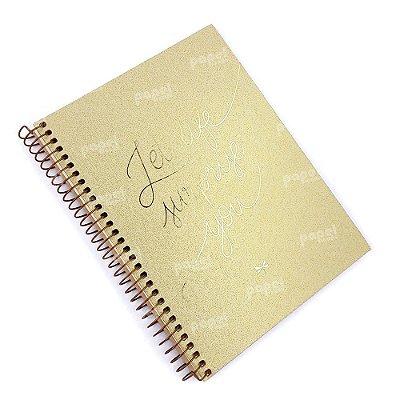 Caderno Shine Dourado 01 Matéria Pontilhado