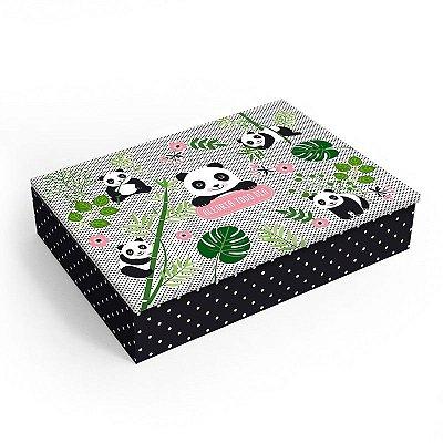 Caixa Organizadora Revestida Panda Média