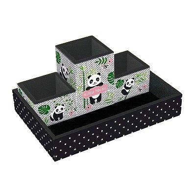 Kit Organizador de Mesa Panda 4 Peças