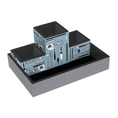 Kit Organizador de Mesa Office Azul 4 Peças