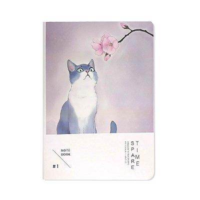 Caderno Brochura Gato e Flor de Cerejeira