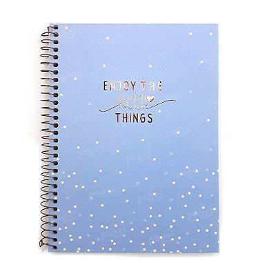Caderno Soho Bolinhas Azul Pastel 160 Folhas