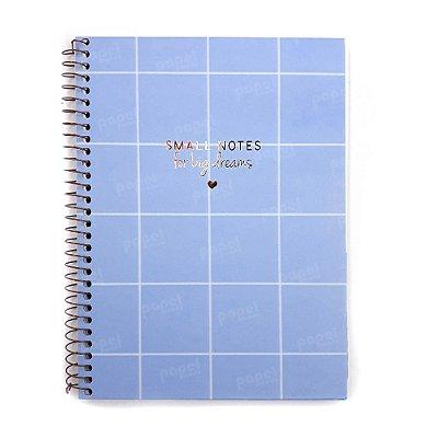 Caderno Soho Quadriculado Azul Pastel 160 Folhas