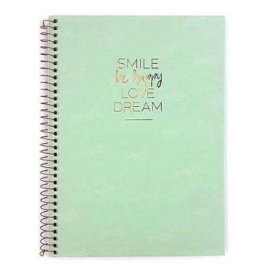 Caderno Médio Happy Verde 160 Folhas