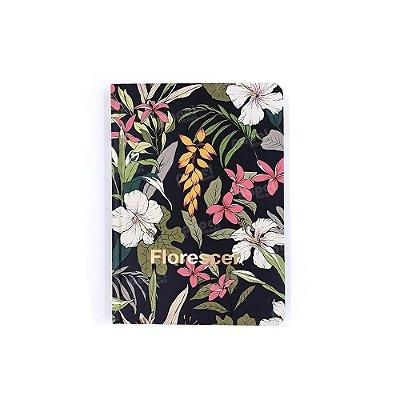 Caderneta Pequena Pautada Florescer Dourada