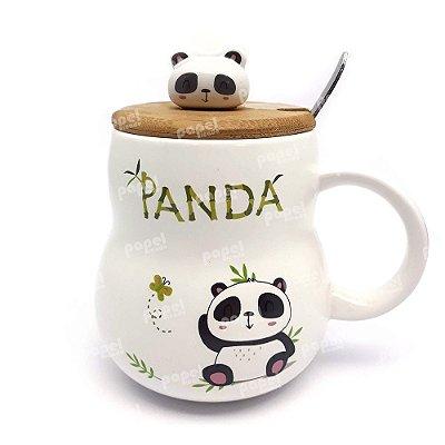 Caneca com Tampa e Colher Panda Sentado