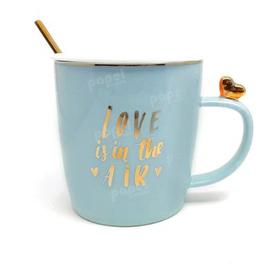 Caneca com Tampa e Colher Love is in The Air Azul
