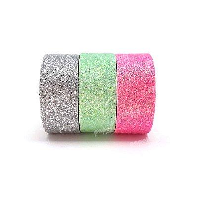 Conjunto Fita Adesiva Washi Tape Glitter Rosa e Prata