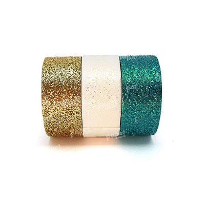 Conjunto Fita Adesiva Washi Tape Glitter Azul e Dourado