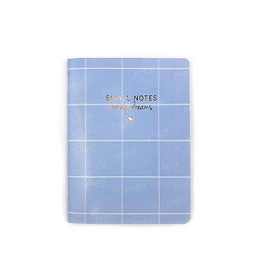 Caderninho Soho Quadriculado Azul Pastel