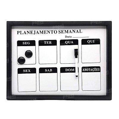 Lousa Magnética Planejamento Semanal Preta
